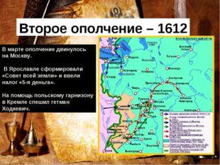 Второе ополчение – 1612 г В марте ополчение двинулось на Москву. В Ярославле