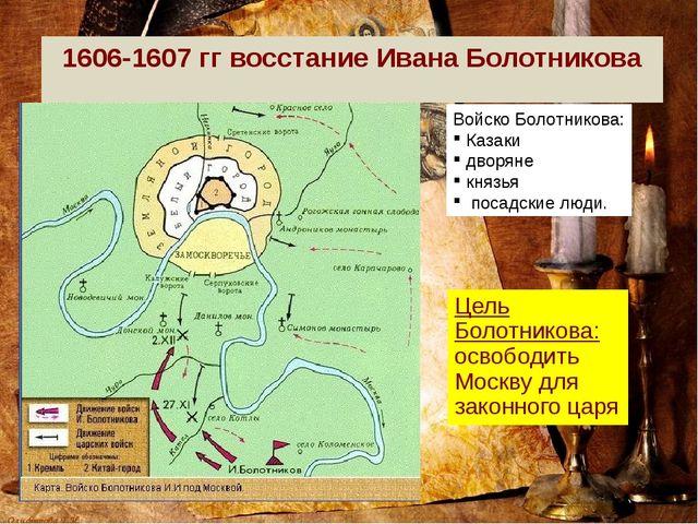 1606-1607 гг восстание Ивана Болотникова Цель Болотникова: освободить Москву...