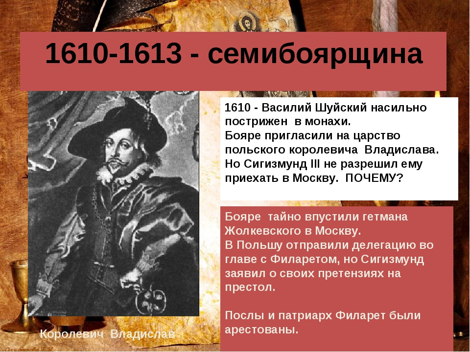 1610-1613 - семибоярщина Королевич Владислав 1610 - Василий Шуйский насильно...