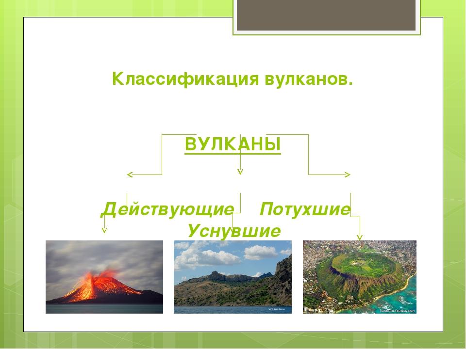 Классификация вулканов. ВУЛКАНЫ Действующие Потухшие Уснувшие
