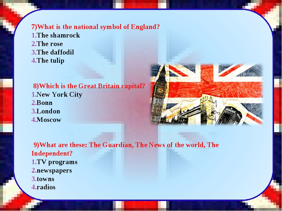 7)What is the national symbol of England? The shamrock The rose The daffodil...