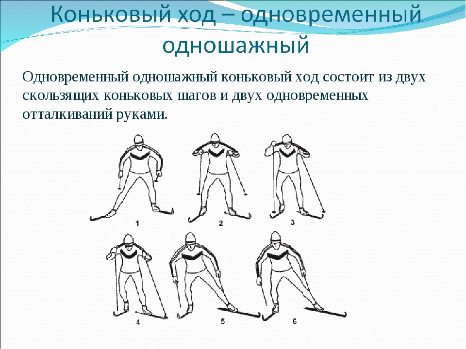 Одновременный одношажный коньковый ход состоит из двух скользящих коньковых ш...