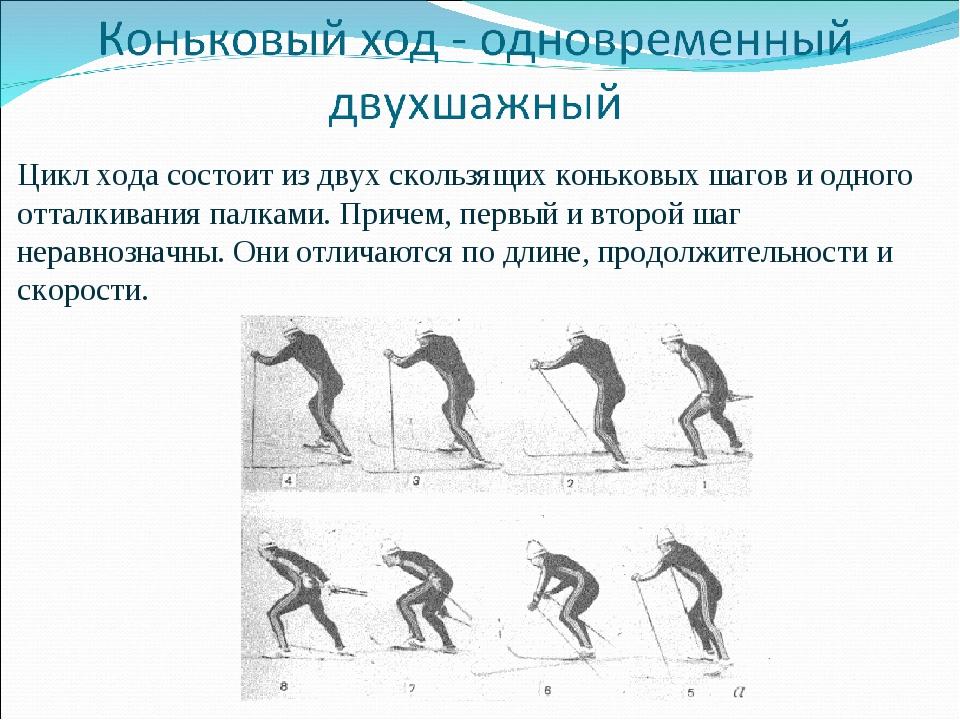 Цикл хода состоит из двух скользящих коньковых шагов и одного отталкивания па...