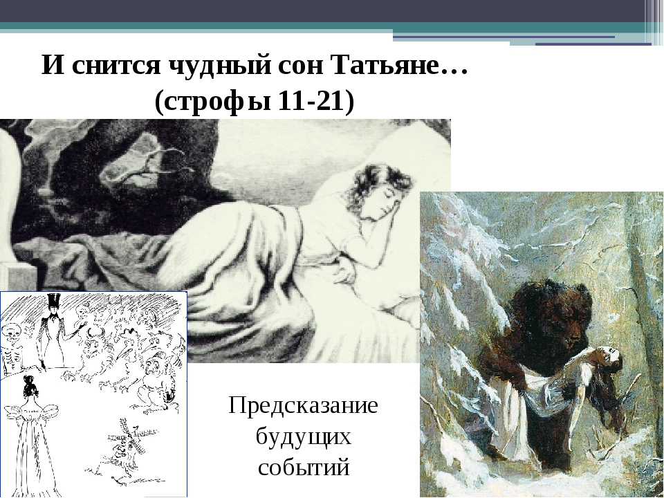И снится чудный сон Татьяне…(строфы 11-21) Предсказание будущих событий