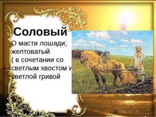 Соловый О масти лошади; желтоватый ( в сочетании со светлым хвостом и светлой