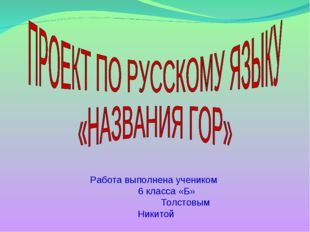 Работа выполнена учеником 6 класса «Б» Толстовым Никитой