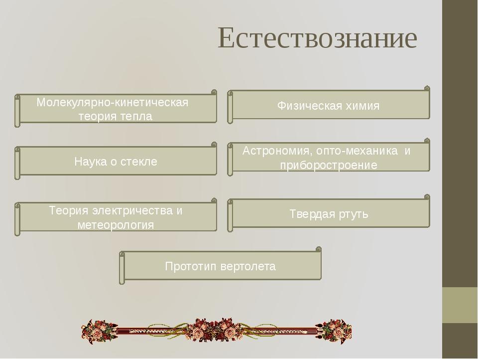 Естествознание Физическая химия Молекулярно-кинетическая теория тепла Астроно...