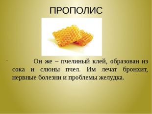 ПРОПОЛИС Он же – пчелиный клей, образован из сока и слюны пчел. Им лечат брон