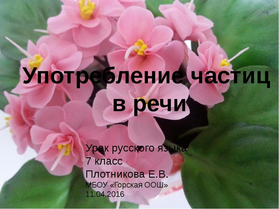 7 класс Употребление частиц в речи Урок русского языка 7 класс Плотникова Е....