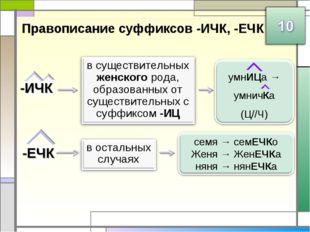 Правописание суффиксов -ИЧК, -ЕЧК