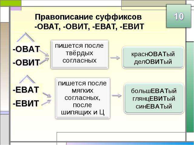 Правописание суффиксов -ОВАТ, -ОВИТ, -ЕВАТ, -ЕВИТ