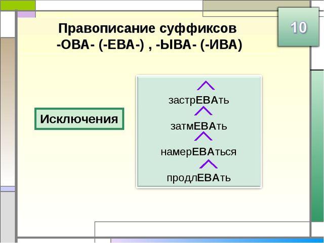 Правописание суффиксов -ОВА- (-ЕВА-) , -ЫВА- (-ИВА) Исключения