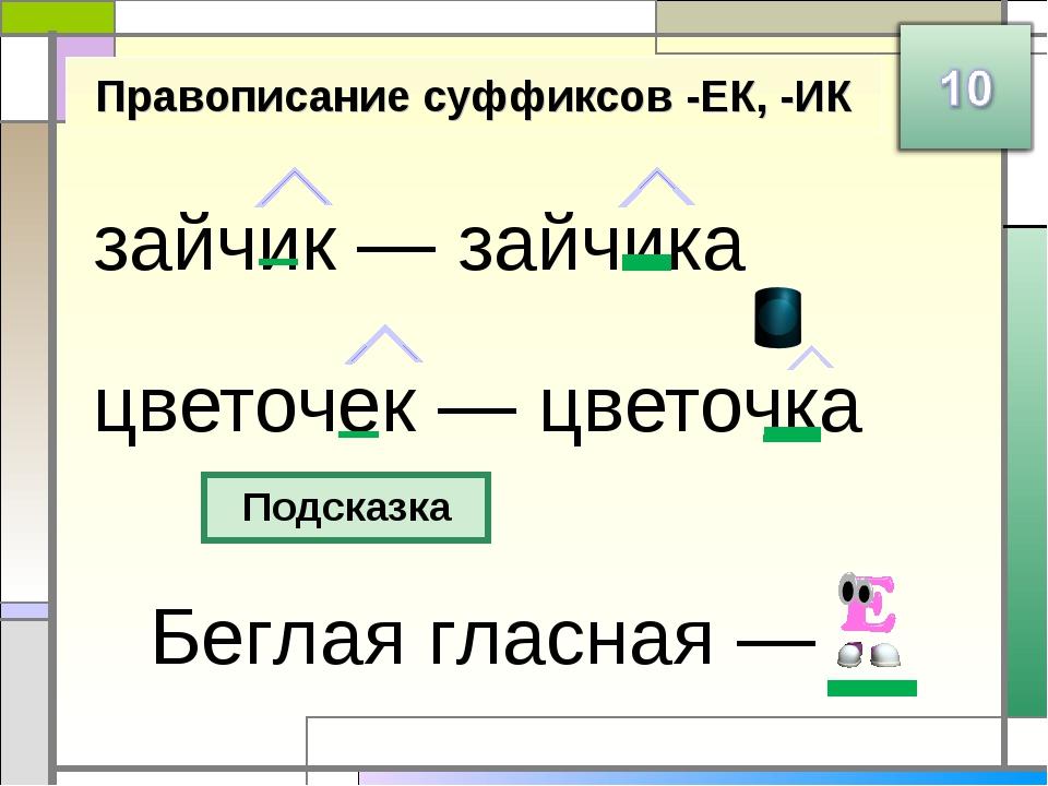 зайчик — зайчика цветочек — цветочка Правописание суффиксов -ЕК, -ИК Подсказк...