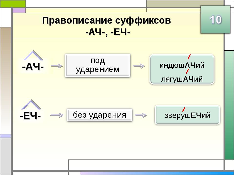 Правописание суффиксов -АЧ-, -ЕЧ-
