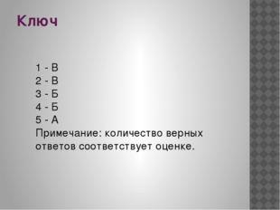 Ключ 1 - В 2 - В 3 - Б 4 - Б 5 - А Примечание: количество верных ответов соот