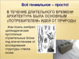 Жак Коэль изобрел цилиндрические пустотелые строительные блоки под впечатлен