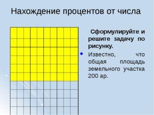 Нахождение процентов от числа Сформулируйте и решите задачу по рисунку. Извес