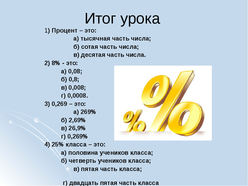 Итог урока 1) Процент – это: а) тысячная часть числа; б) сотая часть числа...