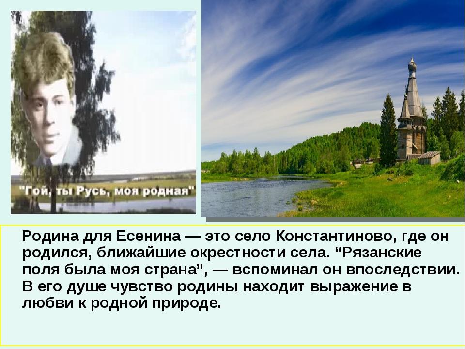 Родина для Есенина — это село Константиново, где он родился, ближайшие окрес...