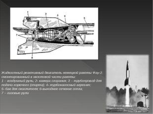 Жидкостный реактивный двигатель немецкой ракеты Фау-2, смонтированный вхвост