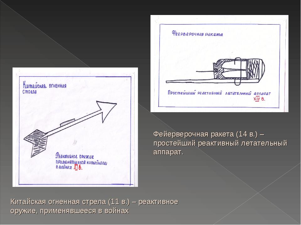 Китайская огненная стрела (11 в.) – реактивное оружие, применявшееся в войнах...