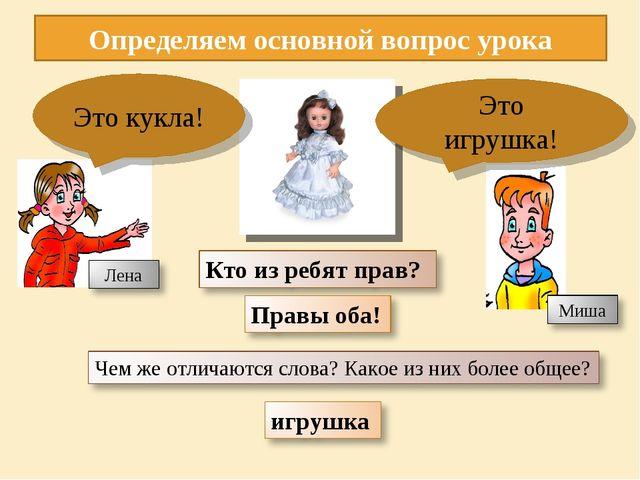Определяем основной вопрос урока Это игрушка! Это кукла!