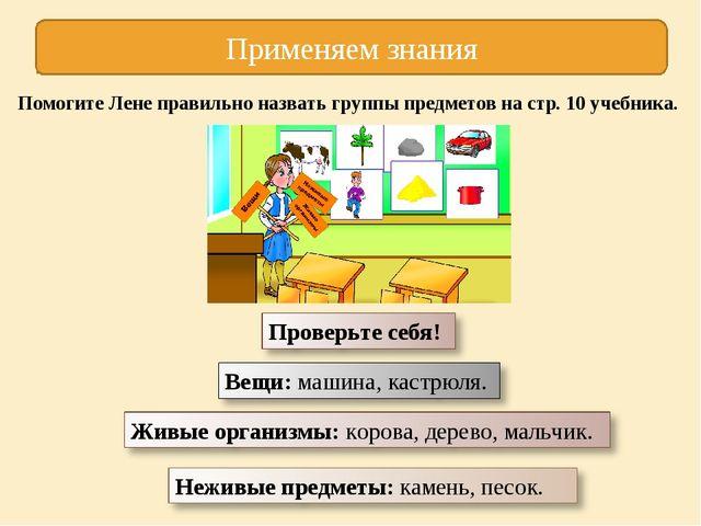 Применяем знания Помогите Лене правильно назвать группы предметов на стр. 10...