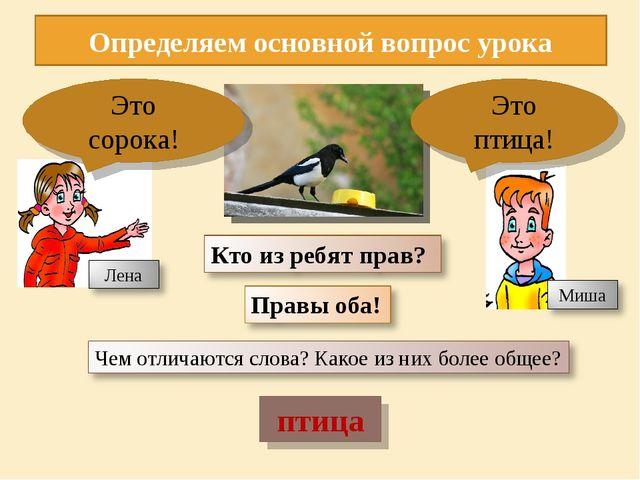 птица Определяем основной вопрос урока Это сорока! Это птица!