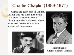 Charlie Chaplin (1889-1977) 	Comic and actor, born in London. Chaplin was one