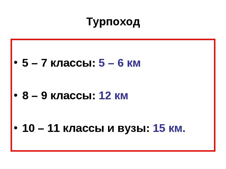Турпоход 5 – 7 классы: 5 – 6 км 8 – 9 классы: 12 км 10 – 11 классы и вузы: 15...