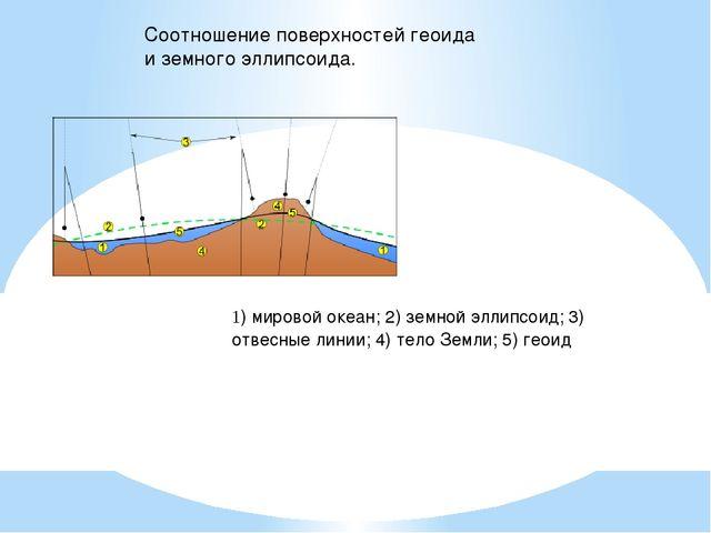 1) мировой океан; 2) земной эллипсоид; 3) отвесные линии; 4) тело Земли; 5) г...