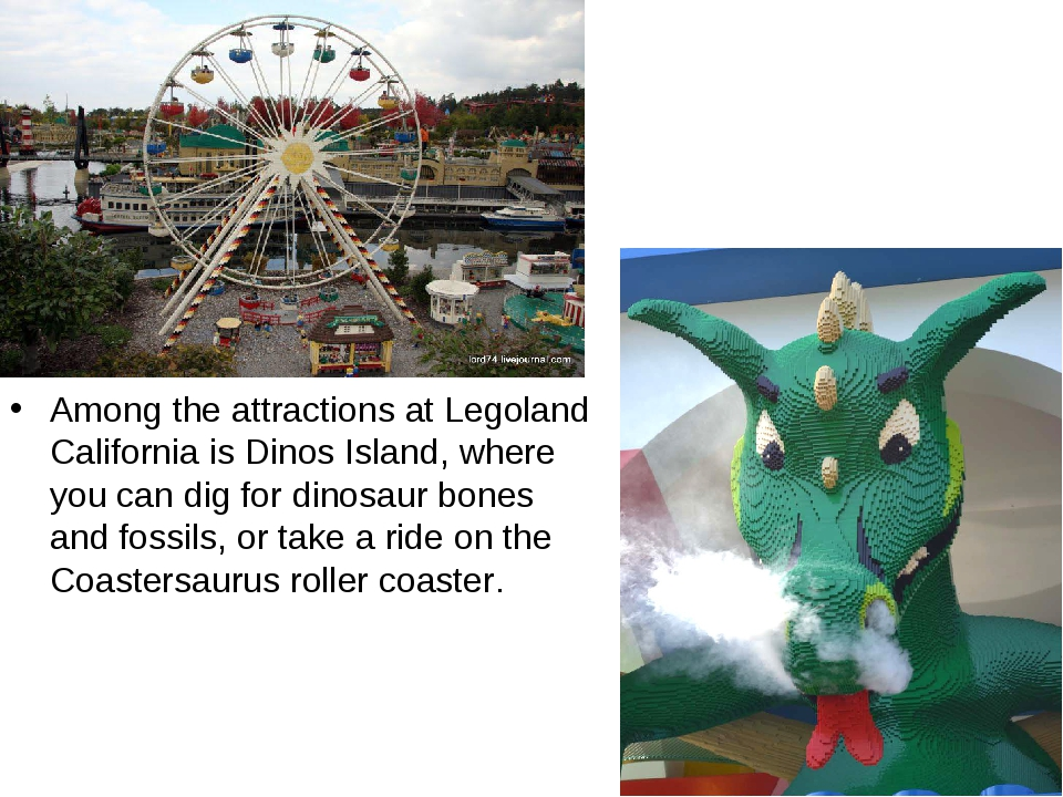 Among the attractions at Legoland California is Dinos Island, where you can d...