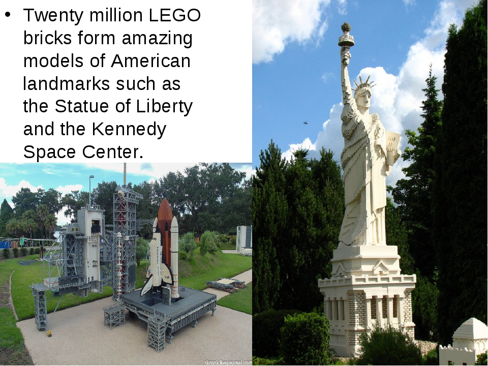 Twenty million LEGO bricks form amazing models of American landmarks such as...
