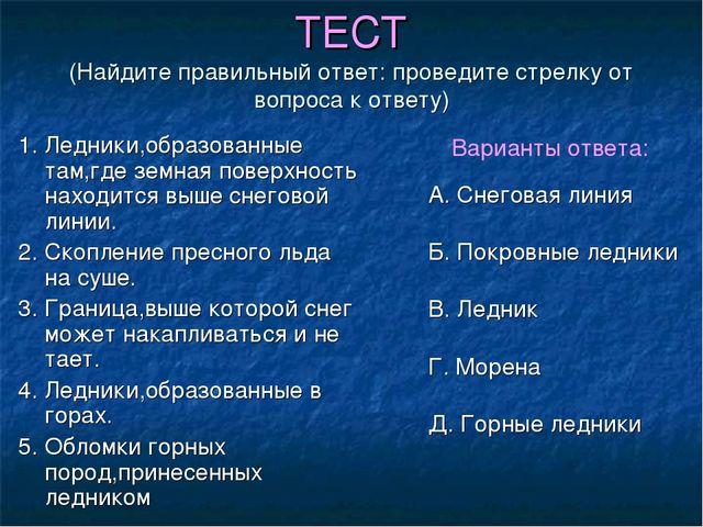 ТЕСТ (Найдите правильный ответ: проведите стрелку от вопроса к ответу) 1. Лед...