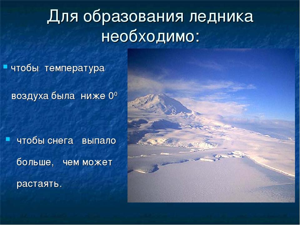 Для образования ледника необходимо: чтобы снега выпало больше, чем может раст...