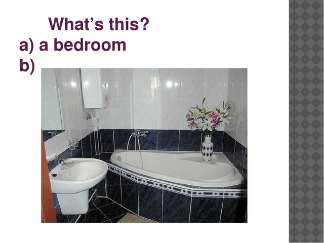 What's this? a) a bedroom b) a bathroom c) a kitchen