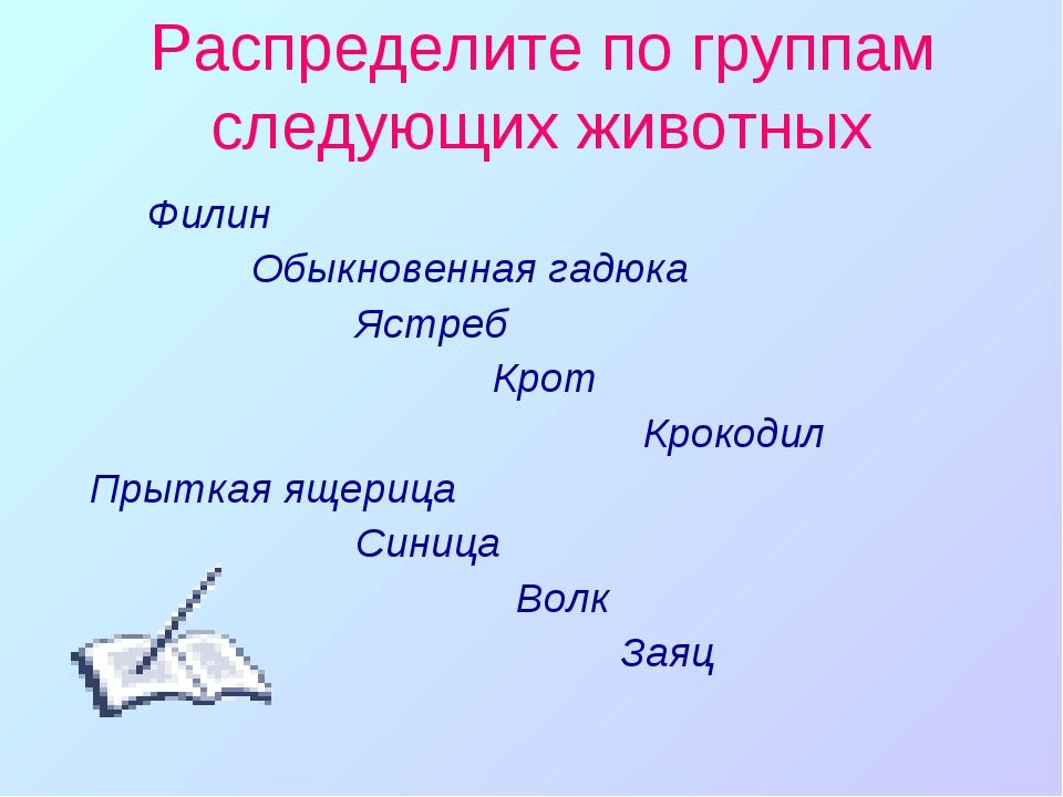 Распределите по группам следующих животных Филин Обыкновенная гадюка Ястреб К...