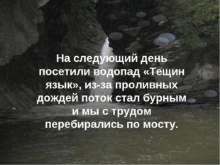 На следующий день посетили водопад «Тещин язык», из-за проливных дождей поток