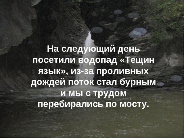 На следующий день посетили водопад «Тещин язык», из-за проливных дождей поток...