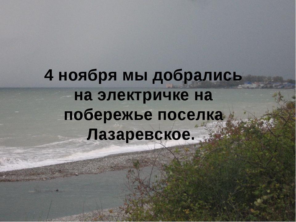 4 ноября мы добрались на электричке на побережье поселка Лазаревское.
