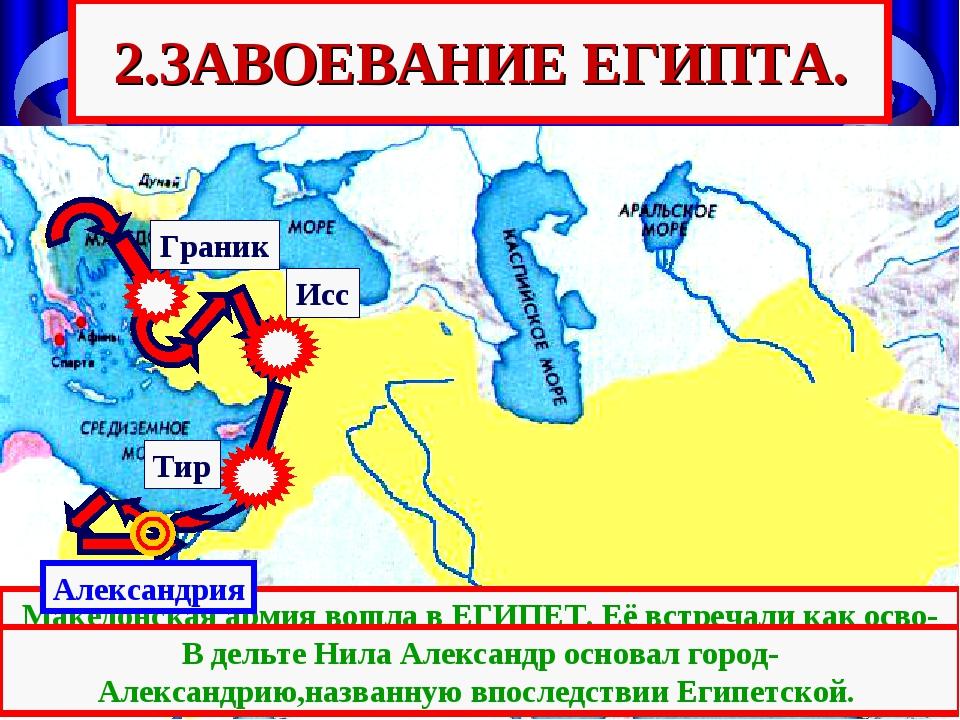 Тир Исс Граник 2.ЗАВОЕВАНИЕ ЕГИПТА. Македонская армия вошла в ЕГИПЕТ. Её встр...