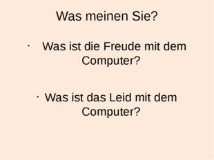 Was meinen Sie? Was ist die Freude mit dem Computer? Was ist das Leid mit dem