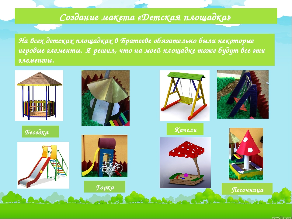 Создание макета «Детская площадка» На всех детских площадках в Братееве обяз...