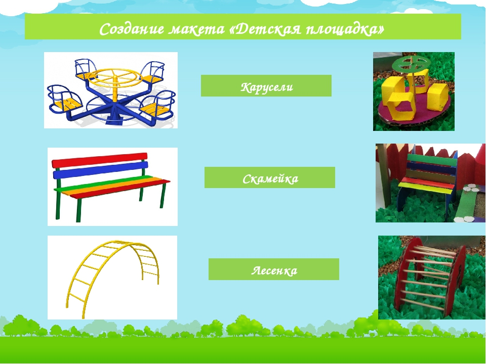 Создание макета «Детская площадка» Карусели Скамейка Лесенка