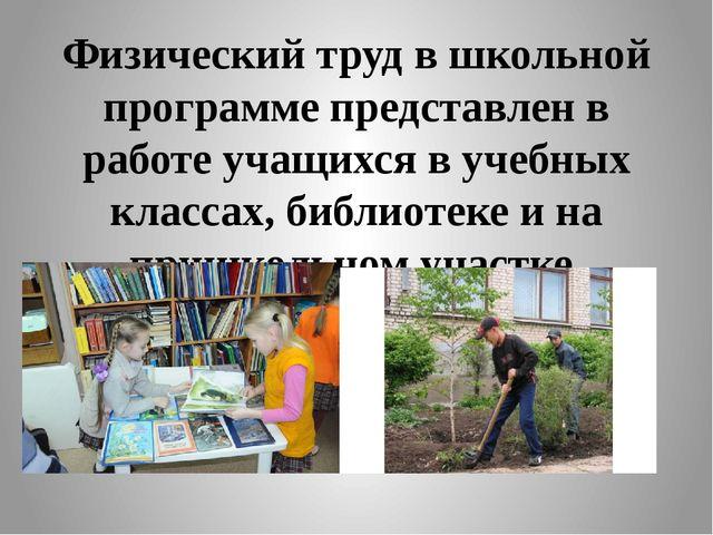 Физический труд в школьной программе представлен в работе учащихся в учебных...