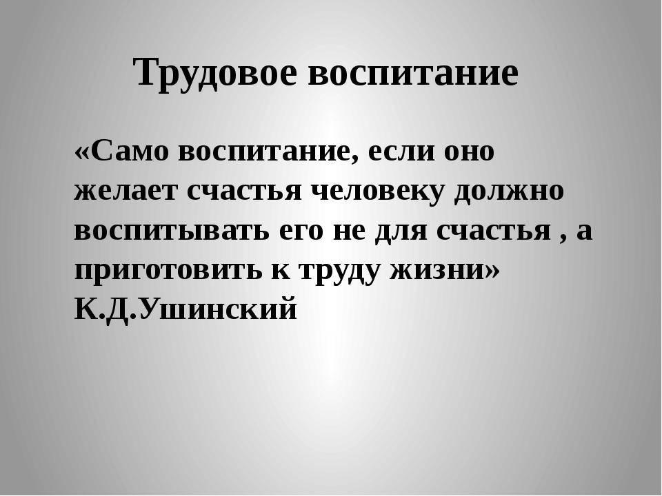Трудовое воспитание «Само воспитание, если оно желает счастья человеку должно...