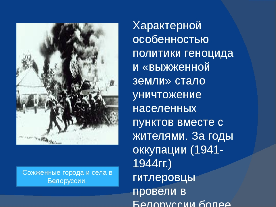 Характерной особенностью политики геноцида и «выжженной земли» стало уничтож...