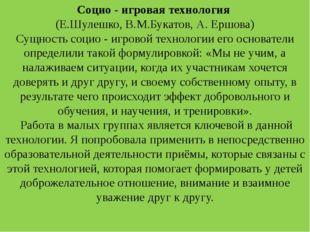 Социо - игровая технология (Е.Шулешко, В.М.Букатов, А. Ершова) Сущность социо