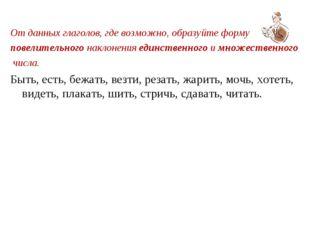 От данных глаголов, где возможно, образуйте форму повелительного наклонения е