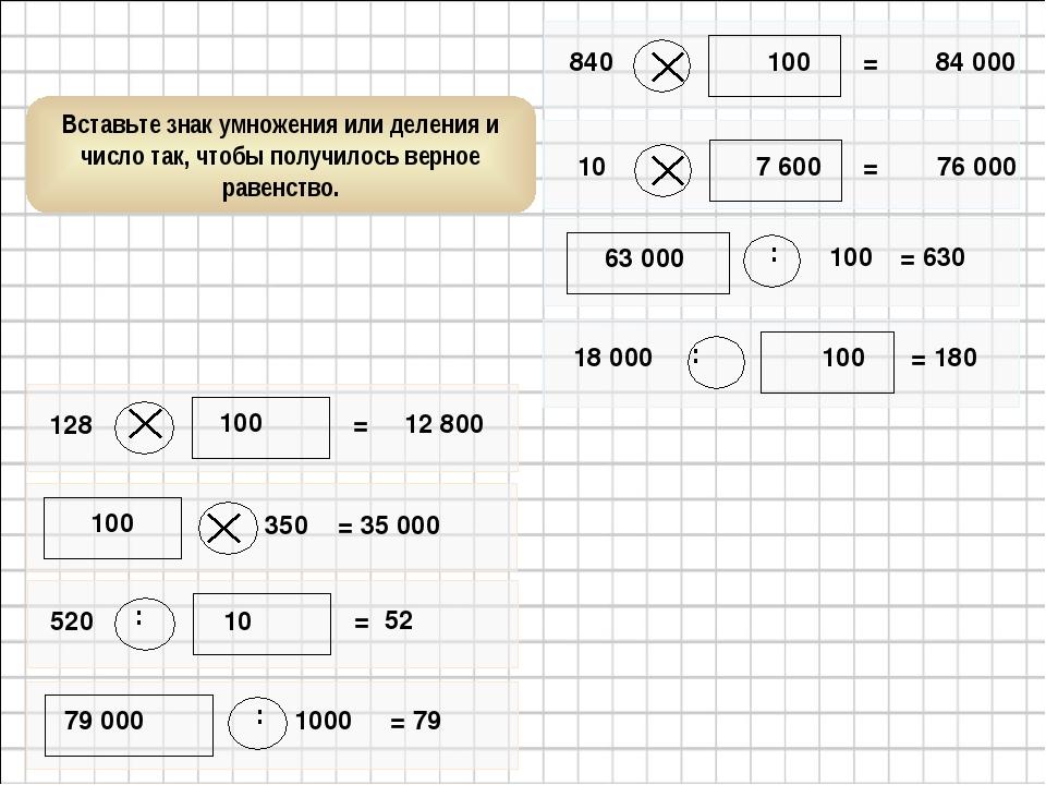 100 100 : 79 000 : 10 100 7 600 : 63 000 : 100 Вставьте знак умножения или де...